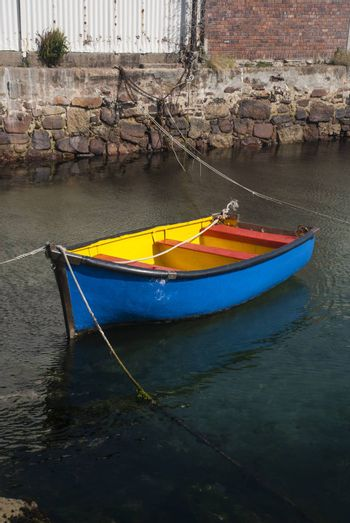 A colourful rowboat in False Bay, South Africa
