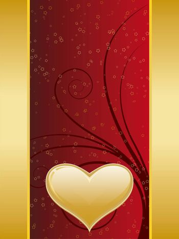 Valentine card with gold decoration and heart shape