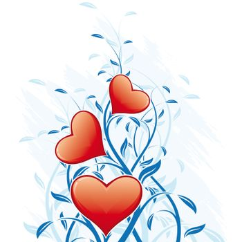 Valentine's Day Heart with floral decoration on white