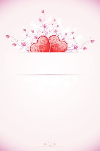 Abstract Valentines Day Card Template with Hearts and florals