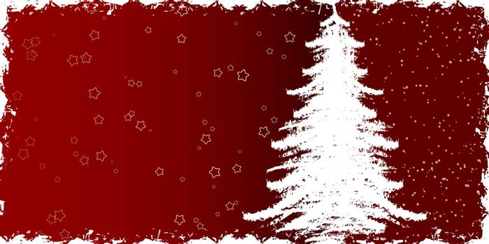 Abstract winter background with christmas tree and rays