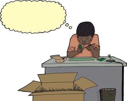 Thinking Man Working on Circuits
