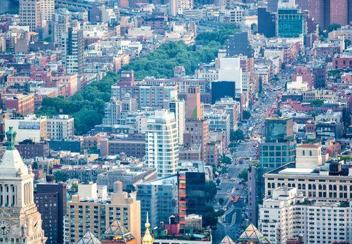 Aerial view of Midtown Manhattan - New York City.