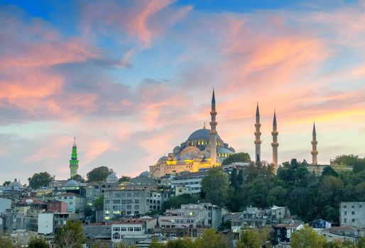 Beautiful view of Istanbul Mosque at dusk.