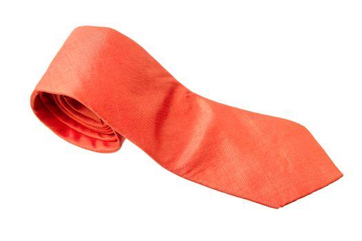plain orange business neck tie isolated on white background