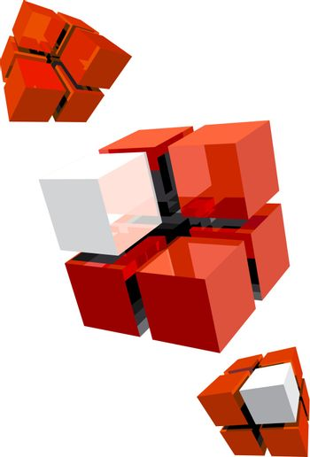 three red cube with white segments