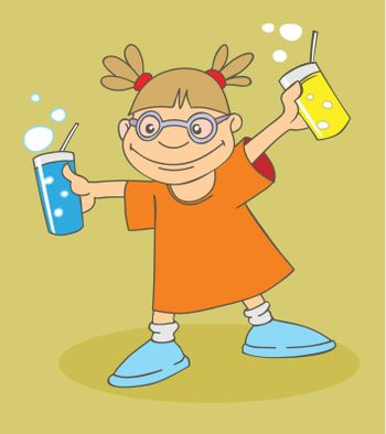 Funny cartoon girl with drinks
