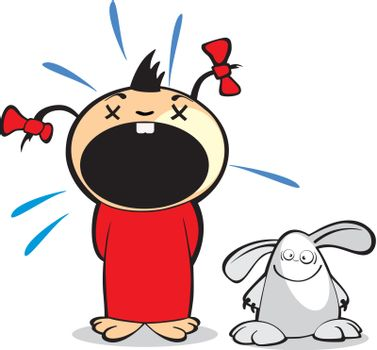 cartoon crying girl with rabbit