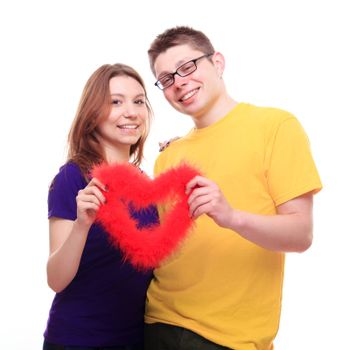 Young people in love holding heart