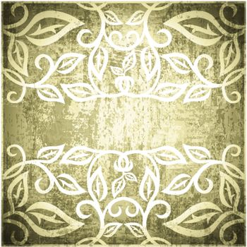 Abstract Leaf Grunge Vintage Floral Frame Background With Copyspace