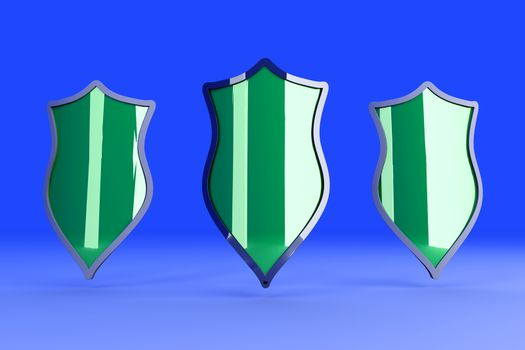 Three Shields for protection. 3D rendered Illustration.