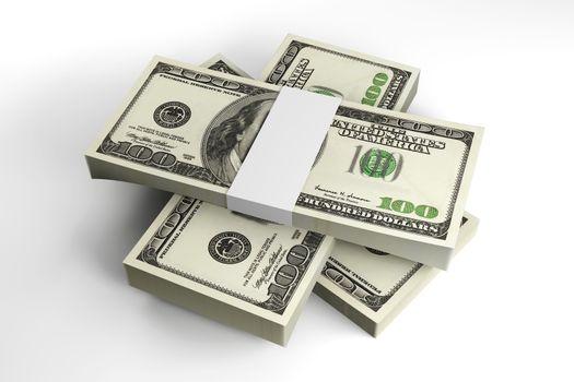 3D rendered Illustration. Stacks of 100 Dollar Bills.