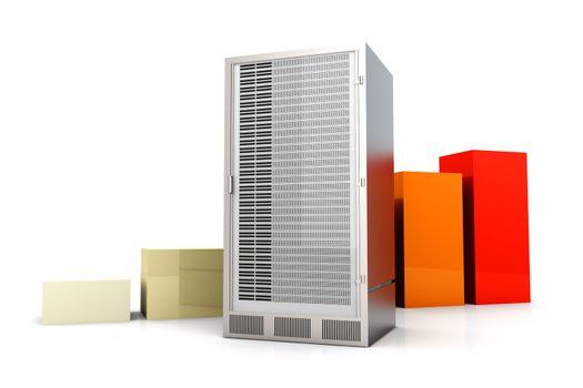 Server and bandwidth statistics. 3D rendered Illustration. Isolated on white.