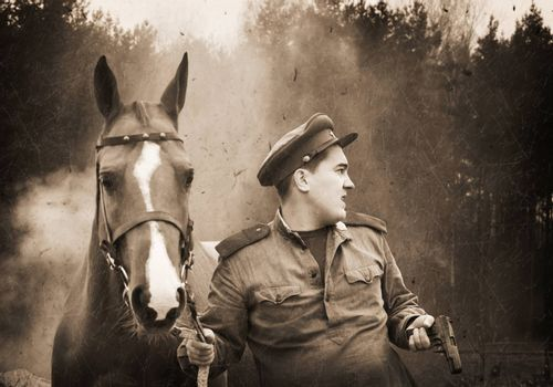 Infantry sergeant wearing soviet form of 1943 year and a horse. Retro photo effect.