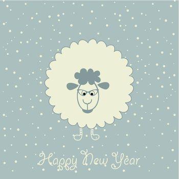 Christmas sheep on a blue background