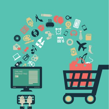 Buying goods in the online store. Vector illustration