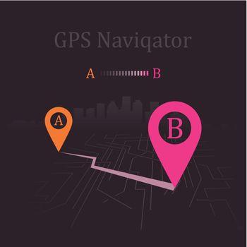 Navigator paved route. Vector illustration