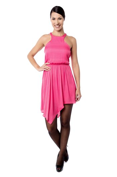 Fashionable woman in an elegant dress