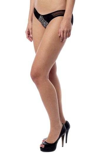 Woman with sexy legs isolated over white