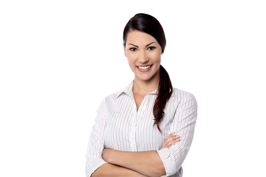 Corporate woman isolated over white
