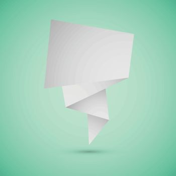 Abstract origami speech background on green background, stock vector