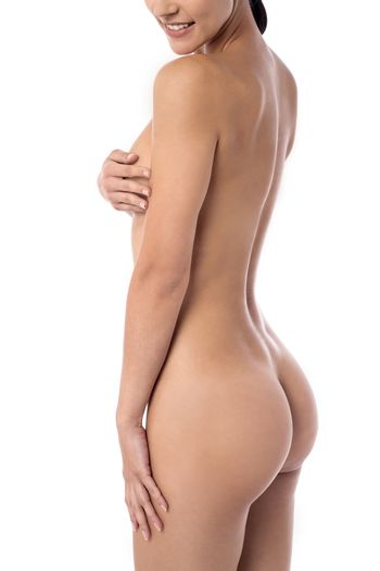 Side view of beautiful naked woman