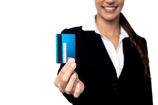 Businesswoman showing her business card
