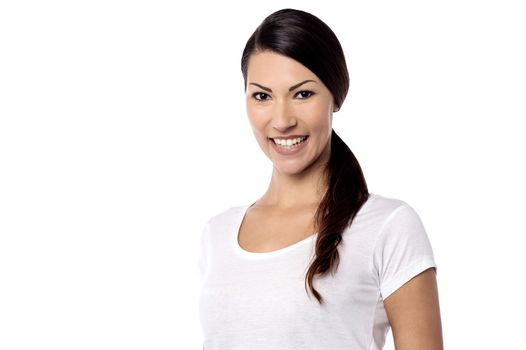 Smiling lovely woman looking at camera