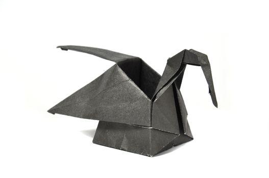 Black origami swan
