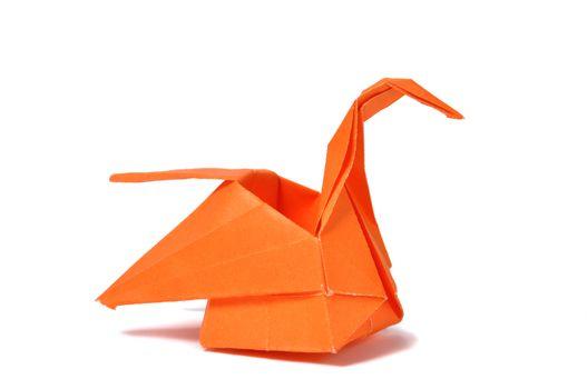 Orange origami swan