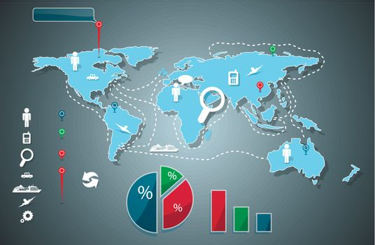 abstract illustration infographics on world map background