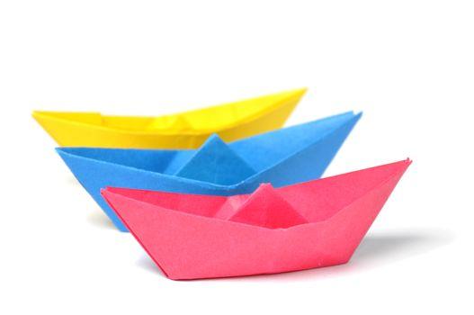 Close up origami ship