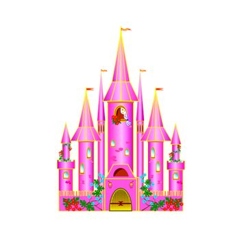 Cartoon pink castle with flowers.