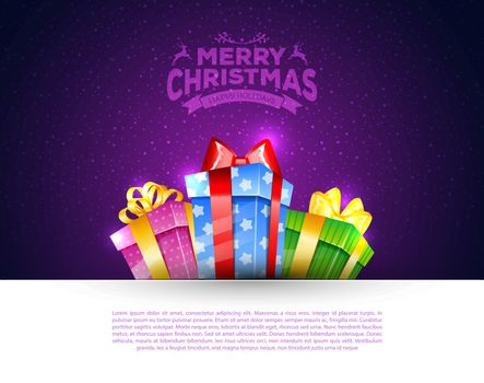Vector illustration of Colorful gift boxes with bows