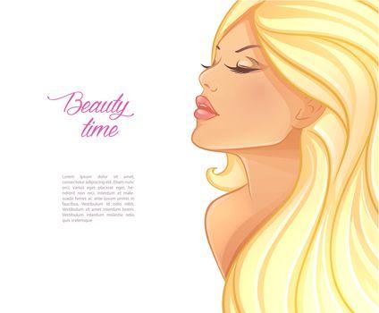 Vector illustration of Beautiful blond woman image