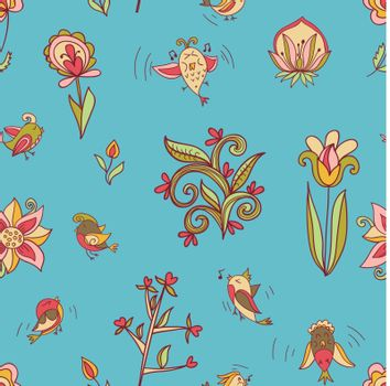 flowers and birds seamless texture pattern. Endless floral pattern. Can be used for wallpaper or pattern, backdrop, surface textures. Full color seamless floral background