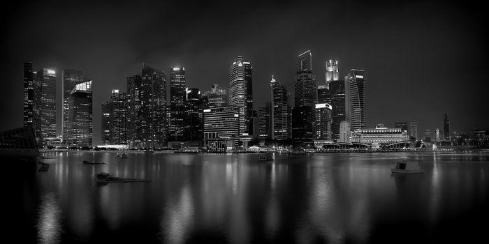 Panorama of Singapore city skyline at night