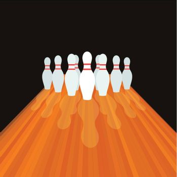 Size and path for bowling. A vector illustration