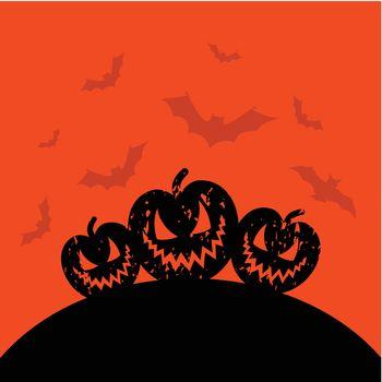 Terrible pumpkins on an orange background. A vector illustration