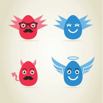 Egg an angel and fig. a vector illustration