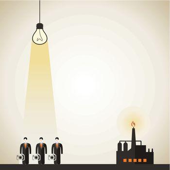 The bulb shines on photographers. A vector illustration