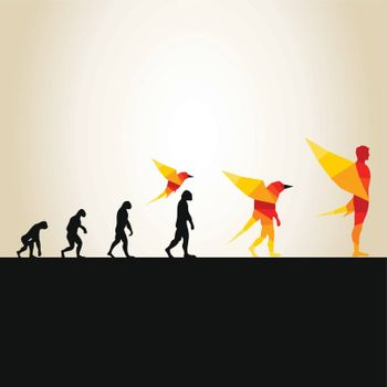 Evolution from the person in a bird. A vector illustration