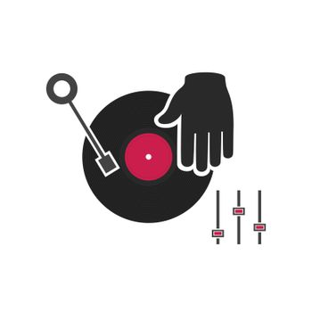 The DJ plays vinyl. A vector illustration