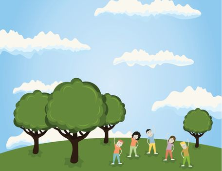 Sports in park on the nature. A vector illustration