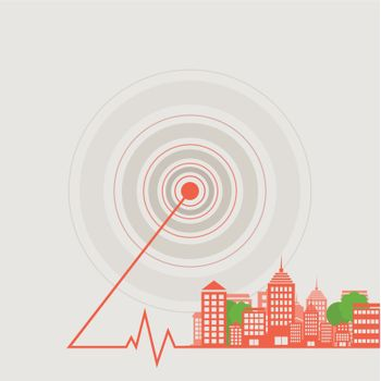 Landscape of a city from epicentre. A vector illustration