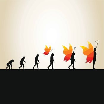 Evolution from the person in the butterfly. A vector illustration