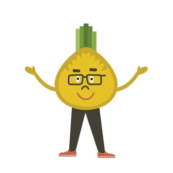 Vegetable onions the guy. A vector illustration