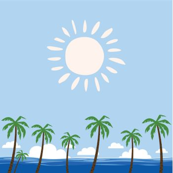 Palm trees against the sea. A vector illustration