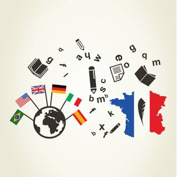 Reading worldwide. A vector illustration