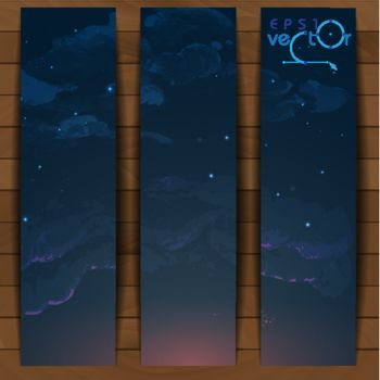 Night Sky Hand Drawn Watercolor Background. Vector Illustration. Eps 10